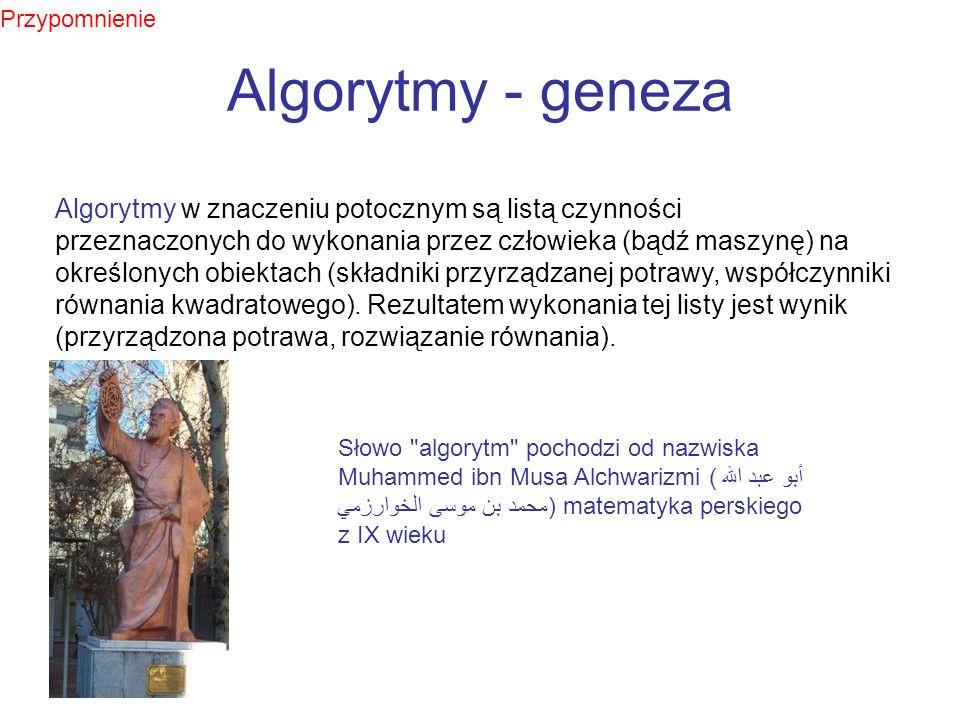 Algorytmy - geneza Algorytmy w znaczeniu potocznym są listą czynności przeznaczonych do wykonania przez człowieka (bądź maszynę) na określonych obiekt