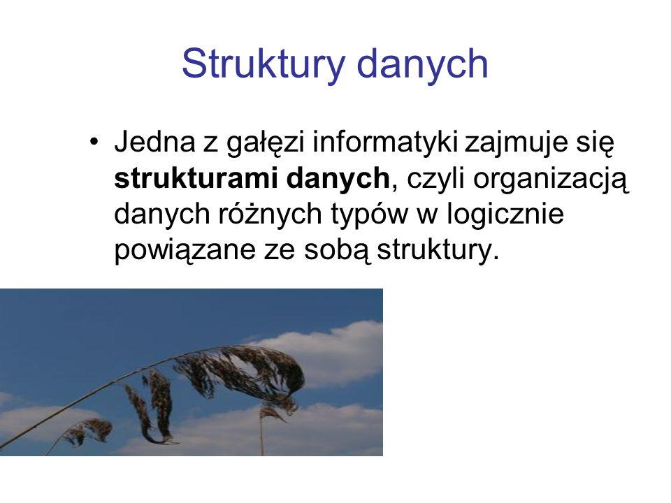 Struktury danych Jedna z gałęzi informatyki zajmuje się strukturami danych, czyli organizacją danych różnych typów w logicznie powiązane ze sobą struk