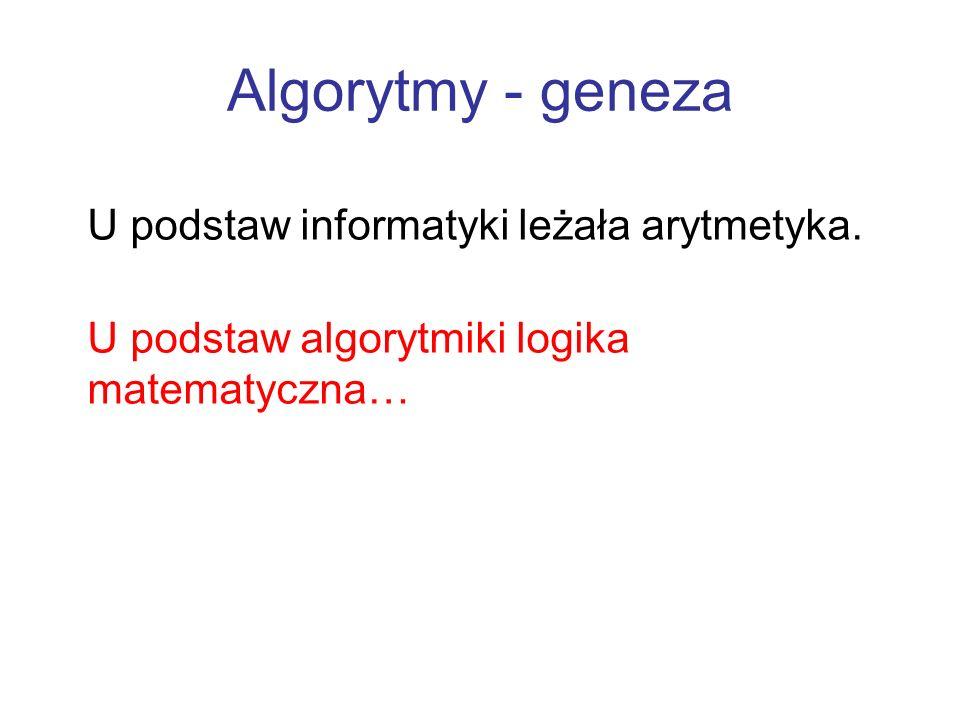 Algorytmy - geneza U podstaw informatyki leżała arytmetyka. U podstaw algorytmiki logika matematyczna…