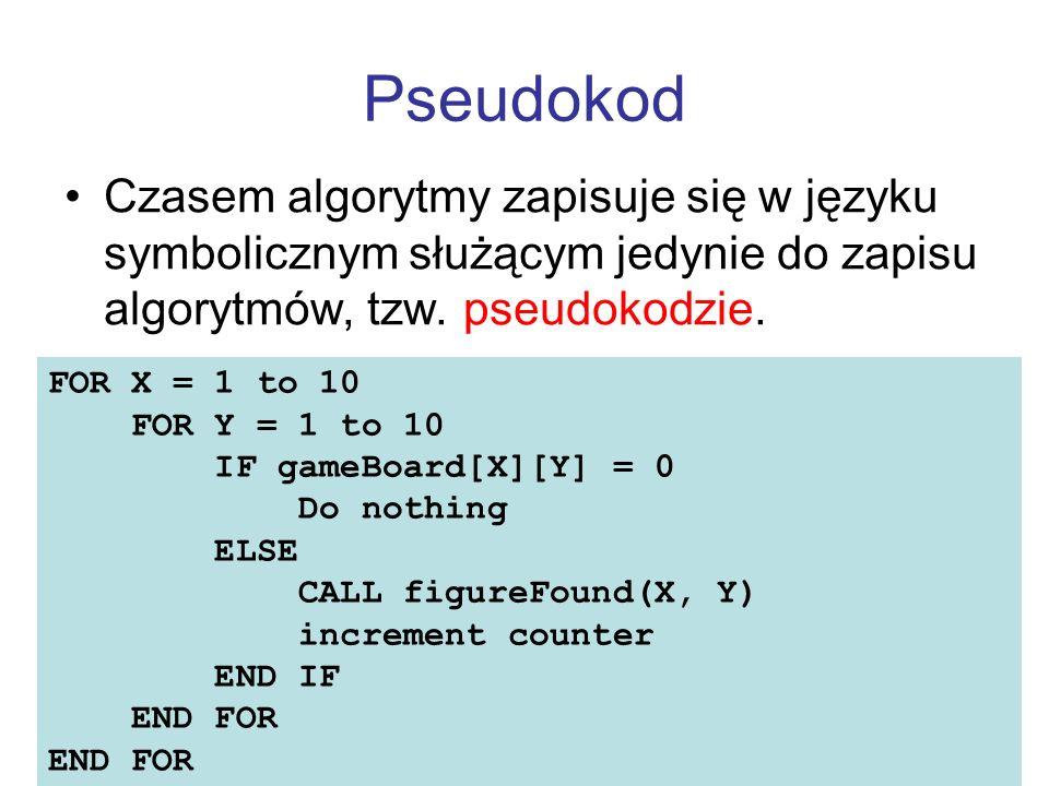 Pseudokod Czasem algorytmy zapisuje się w języku symbolicznym służącym jedynie do zapisu algorytmów, tzw. pseudokodzie. IF HoursWorked > NormalMax THE