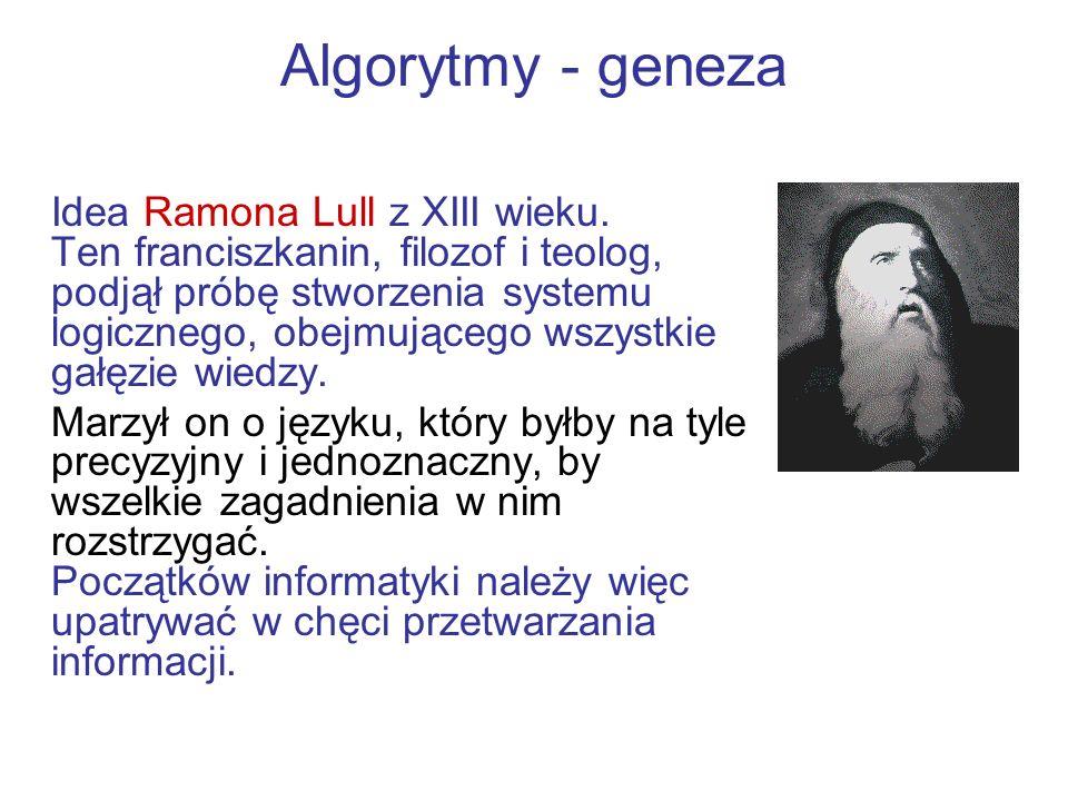 Algorytmy - geneza Idea Ramona Lull z XIII wieku. Ten franciszkanin, filozof i teolog, podjął próbę stworzenia systemu logicznego, obejmującego wszyst