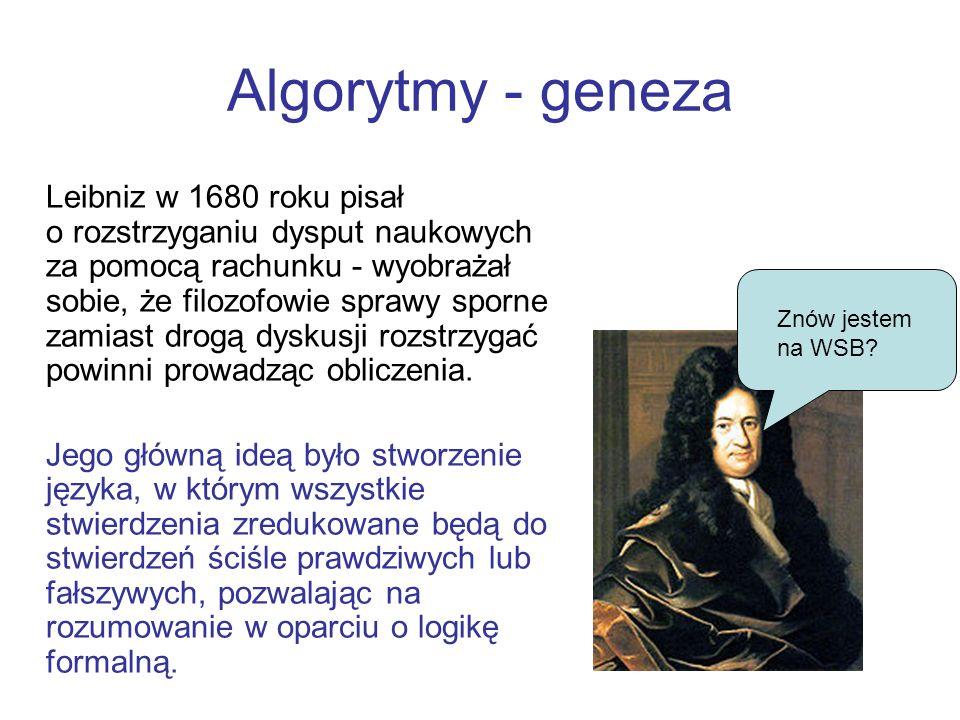 Algorytmy - geneza Leibniz w 1680 roku pisał o rozstrzyganiu dysput naukowych za pomocą rachunku - wyobrażał sobie, że filozofowie sprawy sporne zamia