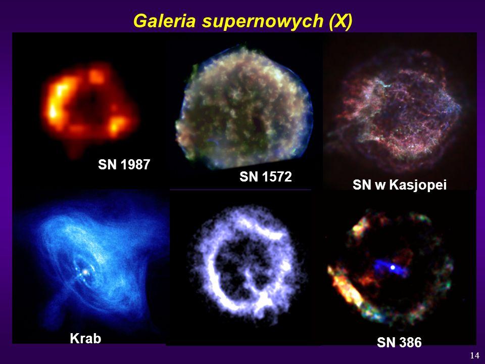 14 Galeria supernowych (X) SN 1987 SN 1572 SN w Kasjopei Krab SN 386