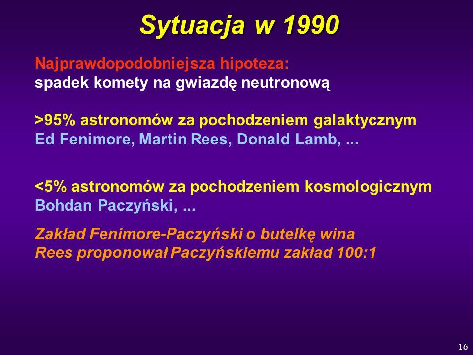 16 Sytuacja w 1990 Najprawdopodobniejsza hipoteza: spadek komety na gwiazdę neutronową >95% astronomów za pochodzeniem galaktycznym Ed Fenimore, Marti