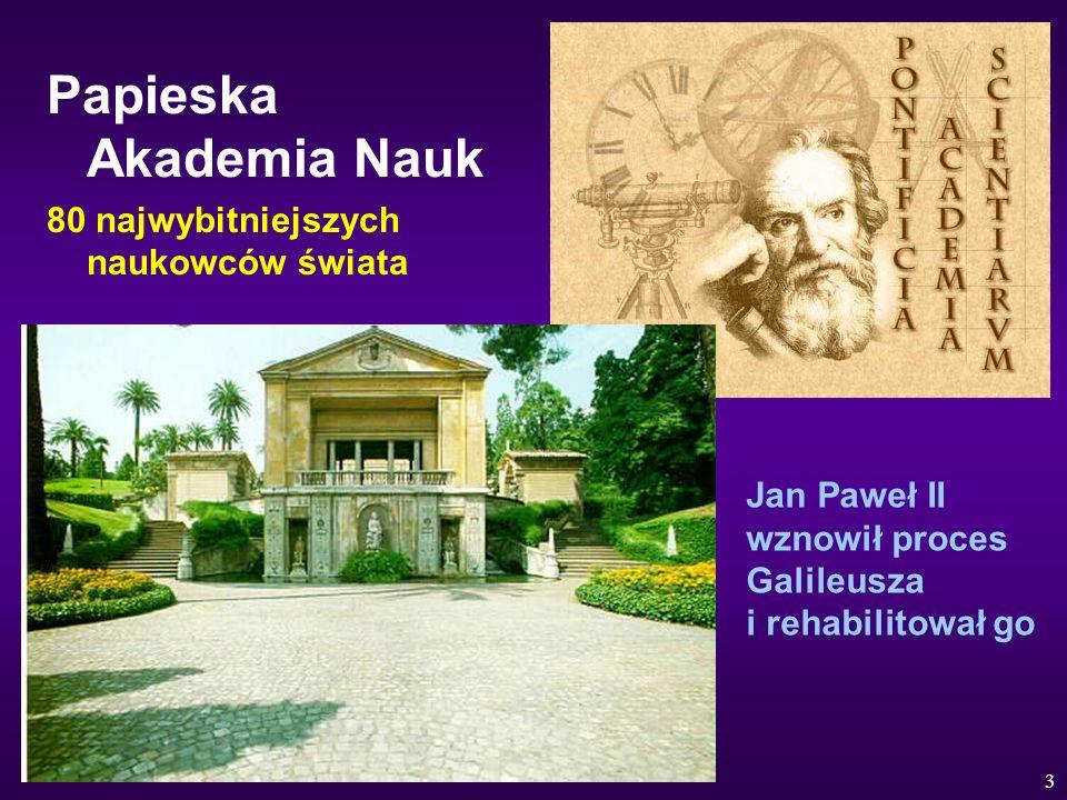 3 Papieska Akademia Nauk 80 najwybitniejszych naukowców świata Jan Paweł II wznowił proces Galileusza i rehabilitował go