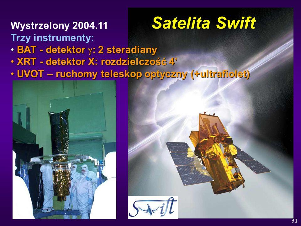 31 Satelita Swift Wystrzelony 2004.11 Trzy instrumenty: BAT - detektor : 2 steradiany BAT - detektor : 2 steradiany XRT - detektor X: rozdzielczość 4