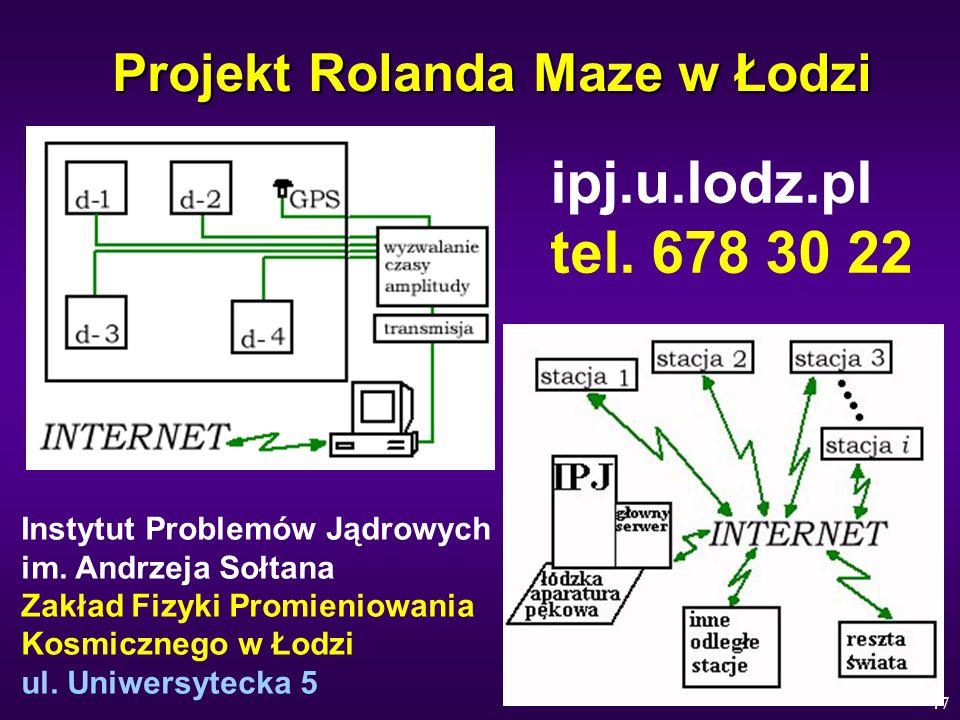 47 Projekt Rolanda Maze w Łodzi ipj.u.lodz.pl tel. 678 30 22 Instytut Problemów Jądrowych im. Andrzeja Sołtana Zakład Fizyki Promieniowania Kosmiczneg