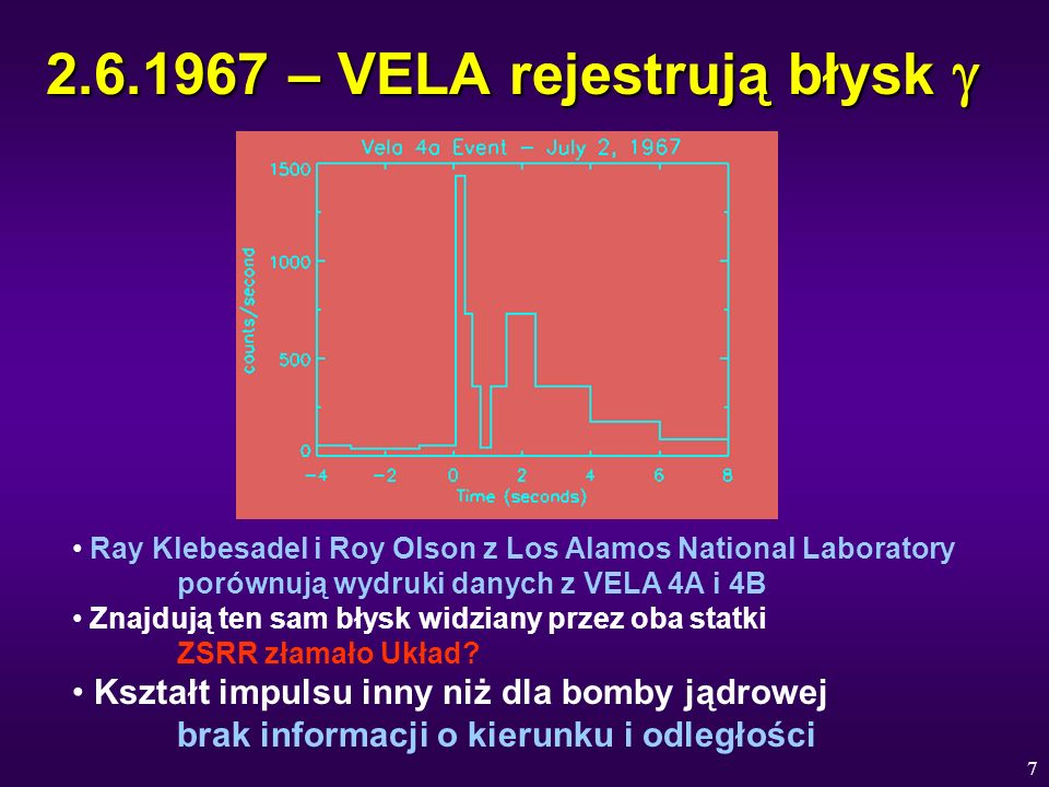 7 2.6.1967 – VELA rejestrują błysk 2.6.1967 – VELA rejestrują błysk Ray Klebesadel i Roy Olson z Los Alamos National Laboratory porównują wydruki dany