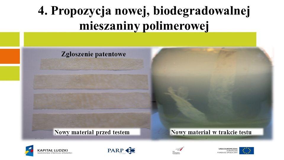 4. Propozycja nowej, biodegradowalnej mieszaniny polimerowej Skład mieszanki: poli(kwas mlekowy)/skrobia/żelatyna/plastyfikator Badania: woda morska w