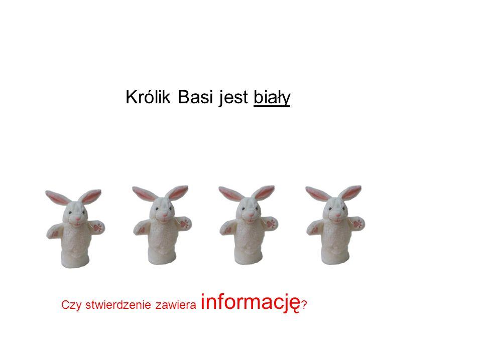 Królik Basi jest biały Czy stwierdzenie zawiera informację ?