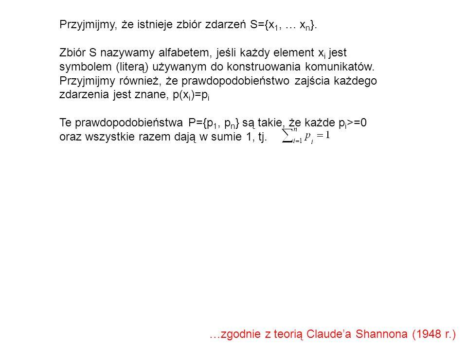 Przyjmijmy, że istnieje zbiór zdarzeń S={x 1, … x n }. Zbiór S nazywamy alfabetem, jeśli każdy element x i jest symbolem (literą) używanym do konstruo