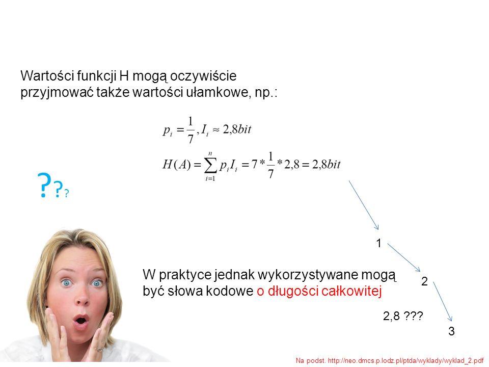 W praktyce jednak wykorzystywane mogą być słowa kodowe o długości całkowitej ?????? 1 2 3 Na podst. http://neo.dmcs.p.lodz.pl/ptda/wyklady/wyklad_2.pd