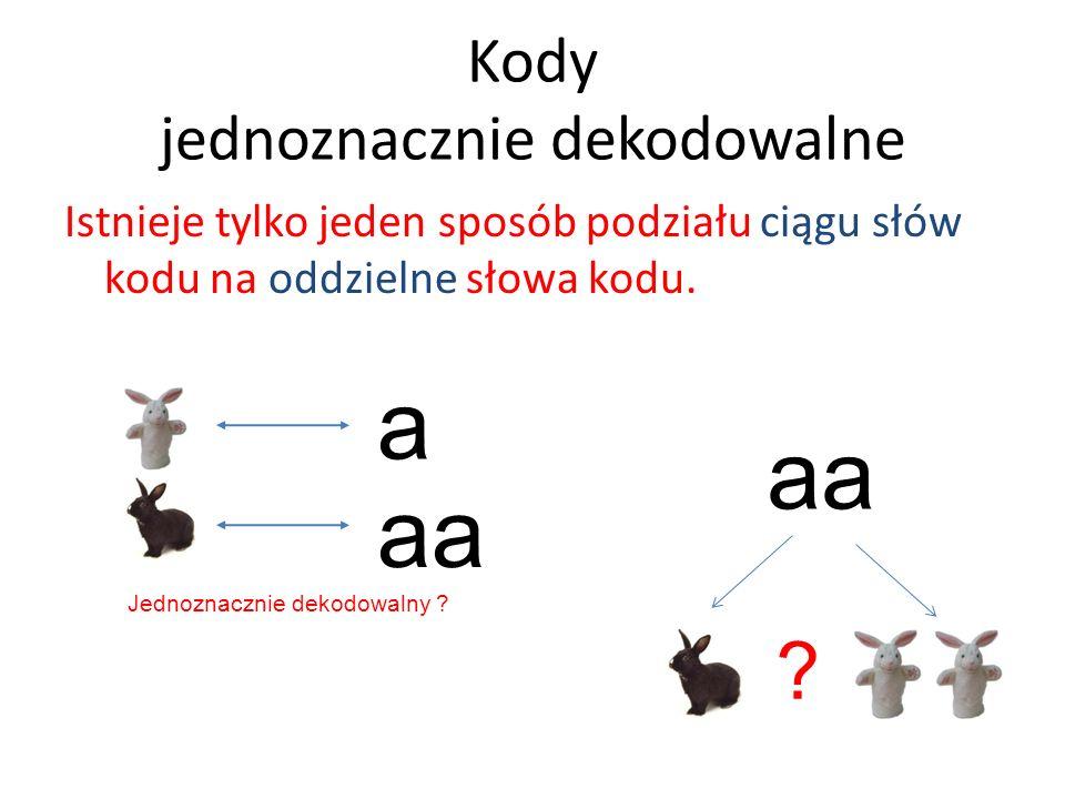 Kody jednoznacznie dekodowalne Istnieje tylko jeden sposób podziału ciągu słów kodu na oddzielne słowa kodu. aa ? a Jednoznacznie dekodowalny ?