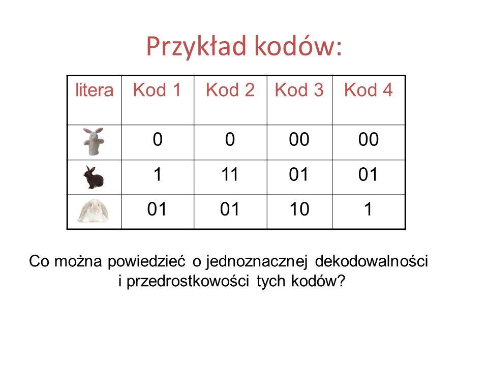 Przykład kodów: literaKod 1Kod 2Kod 3Kod 4 A0000 B11101 C 101 Co można powiedzieć o jednoznacznej dekodowalności i przedrostkowości tych kodów?