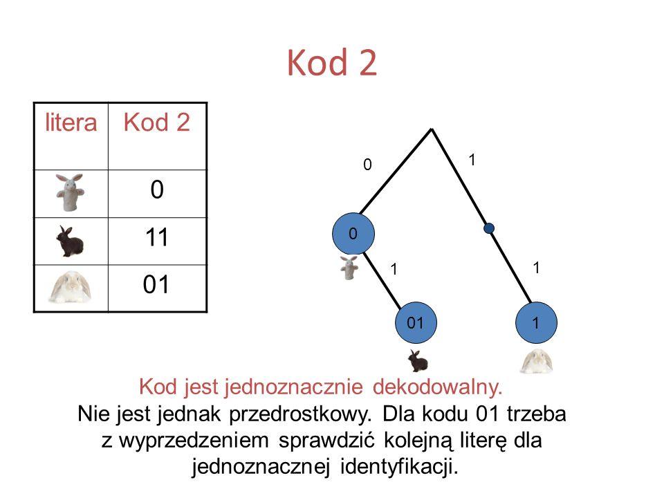 Kod 2 literaKod 2 A0 B11 C01 Kod jest jednoznacznie dekodowalny. Nie jest jednak przedrostkowy. Dla kodu 01 trzeba z wyprzedzeniem sprawdzić kolejną l