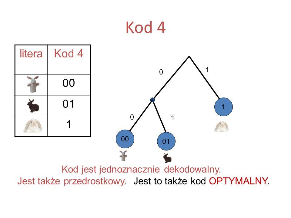 Kod 4 literaKod 4 A00 B01 C1 Kod jest jednoznacznie dekodowalny. Jest także przedrostkowy. Jest to także kod OPTYMALNY. 1 01 0 1 1 B A C 00 0