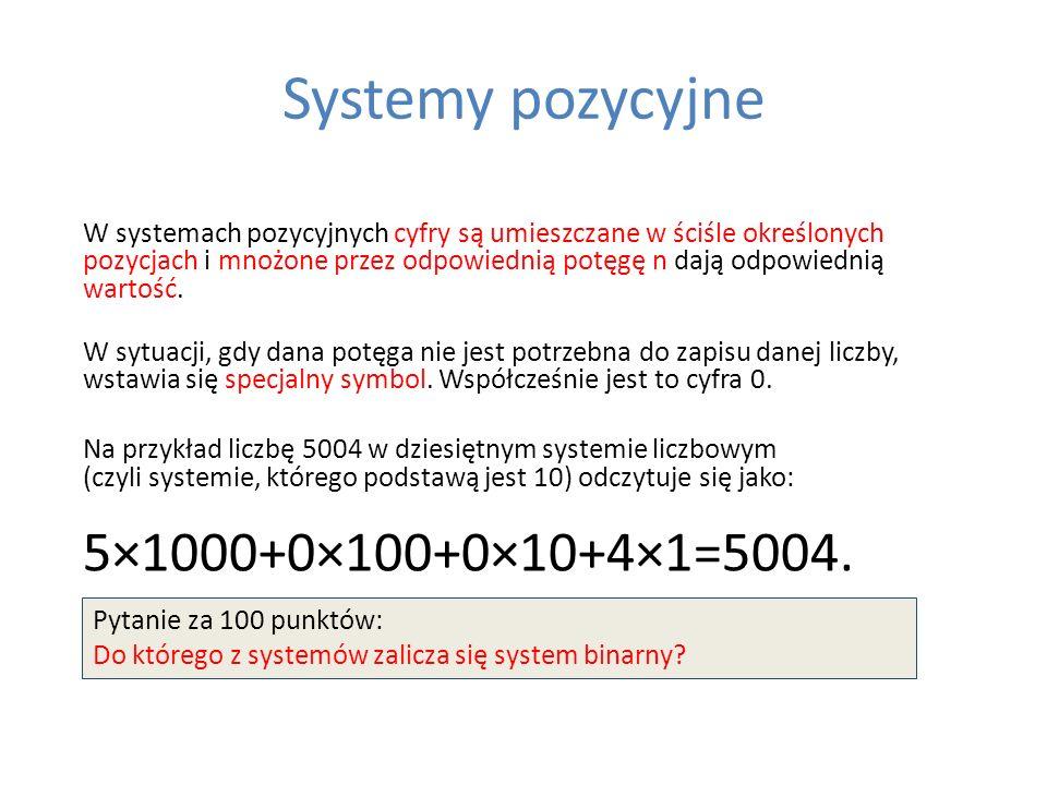 Systemy pozycyjne W systemach pozycyjnych cyfry są umieszczane w ściśle określonych pozycjach i mnożone przez odpowiednią potęgę n dają odpowiednią wa