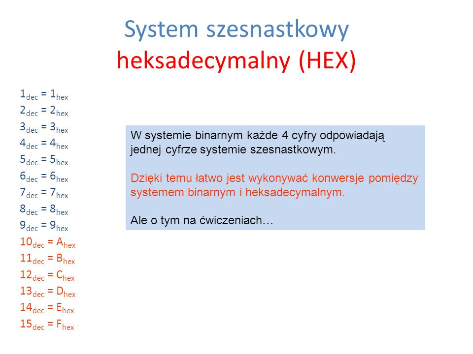 System szesnastkowy heksadecymalny (HEX) 1 dec = 1 hex 2 dec = 2 hex 3 dec = 3 hex 4 dec = 4 hex 5 dec = 5 hex 6 dec = 6 hex 7 dec = 7 hex 8 dec = 8 h
