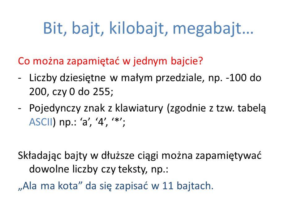 Bit, bajt, kilobajt, megabajt… Co można zapamiętać w jednym bajcie? -Liczby dziesiętne w małym przedziale, np. -100 do 200, czy 0 do 255; -Pojedynczy