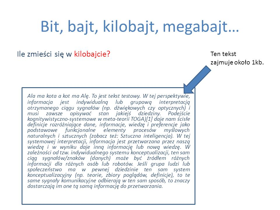 Bit, bajt, kilobajt, megabajt… Ile zmieści się w kilobajcie? Ala ma kota a kot ma Alę. To jest tekst testowy. W tej perspektywie, informacja jest indy