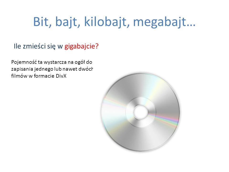 Bit, bajt, kilobajt, megabajt… Ile zmieści się w gigabajcie? Pojemność ta wystarcza na ogół do zapisania jednego lub nawet dwóch filmów w formacie Div