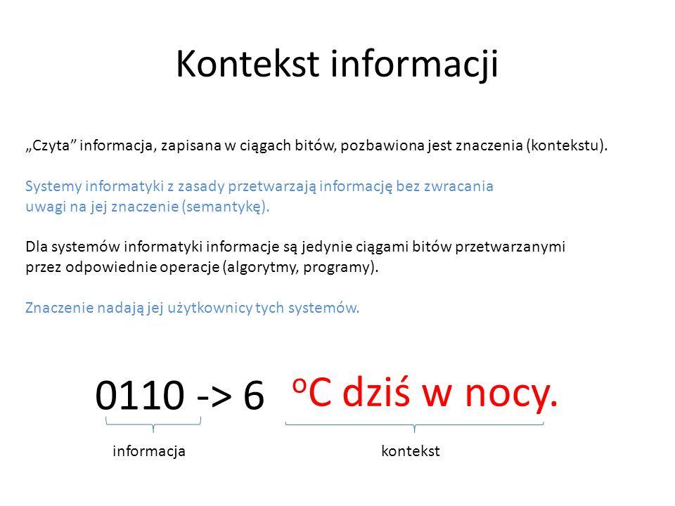 Milionów $ na koncie. Kontekst informacji Czyta informacja, zapisana w ciągach bitów, pozbawiona jest znaczenia (kontekstu). Systemy informatyki z zas