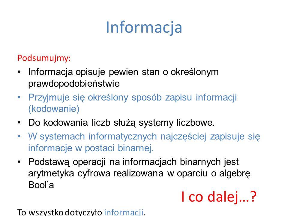 Informacja Podsumujmy: Informacja opisuje pewien stan o określonym prawdopodobieństwie Przyjmuje się określony sposób zapisu informacji (kodowanie) Do