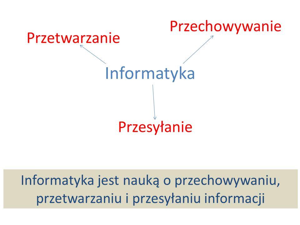 Przetwarzanie Przechowywanie Przesyłanie Informatyka jest nauką o przechowywaniu, przetwarzaniu i przesyłaniu informacji