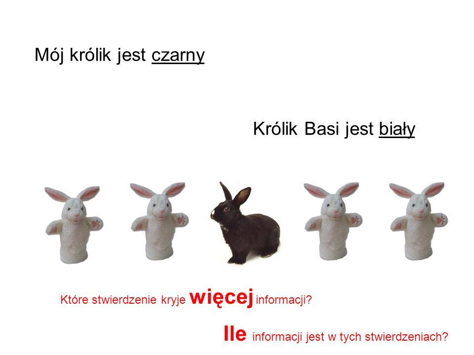 Królik Basi jest biały Mój królik jest czarny Które stwierdzenie kryje więcej informacji? Ile informacji jest w tych stwierdzeniach?