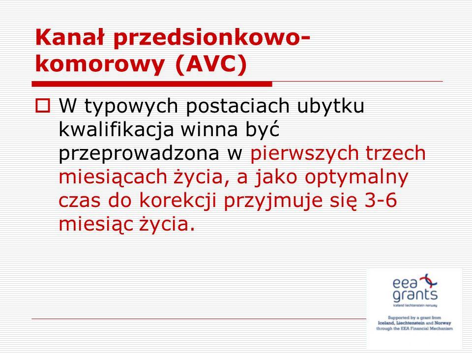 Kanał przedsionkowo- komorowy (AVC) W typowych postaciach ubytku kwalifikacja winna być przeprowadzona w pierwszych trzech miesiącach życia, a jako op