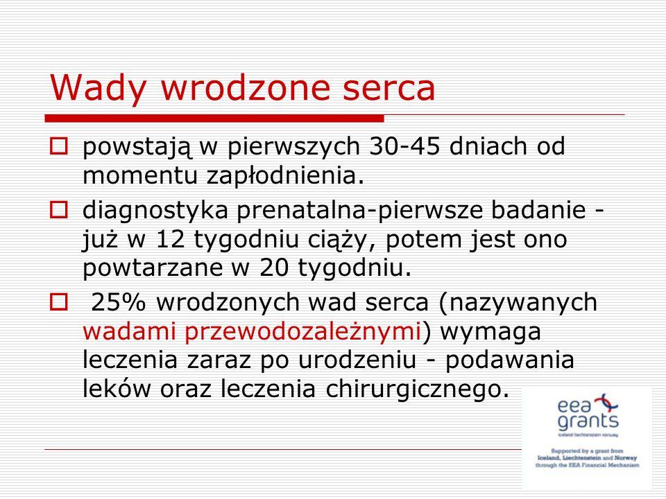 Inne sinicze wady sercowo- naczyniowe Tetralogia Fallota Atrezja zastawki trójdzielnej Wspólny pień tętniczy Pojedyncza komora Całkowity nieprawidłowy spływ żył płucnych Zespół Ebsteina >konieczność podjęcia zabiegu w trybie pilnym, szczególne warunki powodujące szybkie nasilenie stopnia zaburzeń hemodynamicznych zagrażających życiu.