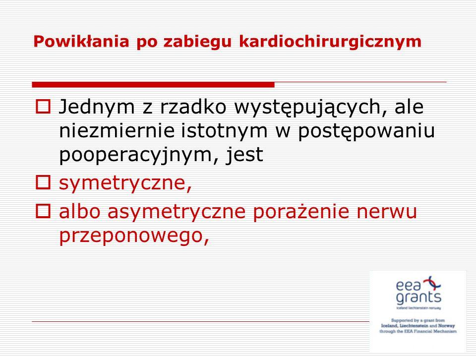 Jednym z rzadko występujących, ale niezmiernie istotnym w postępowaniu pooperacyjnym, jest symetryczne, albo asymetryczne porażenie nerwu przeponowego