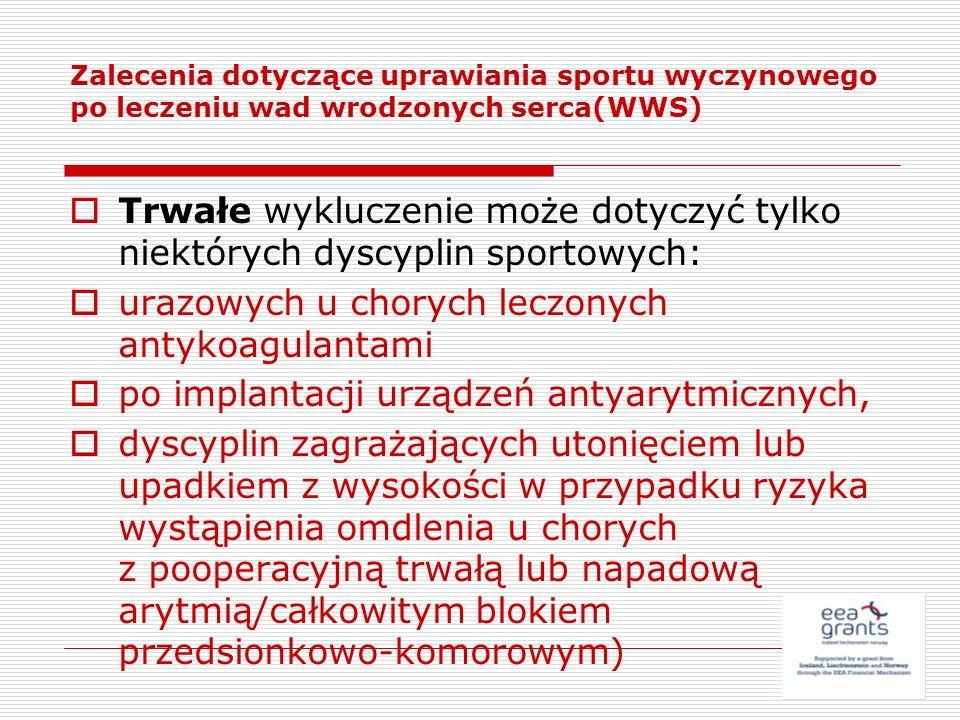 Zalecenia dotyczące uprawiania sportu wyczynowego po leczeniu wad wrodzonych serca(WWS) Trwałe wykluczenie może dotyczyć tylko niektórych dyscyplin sp