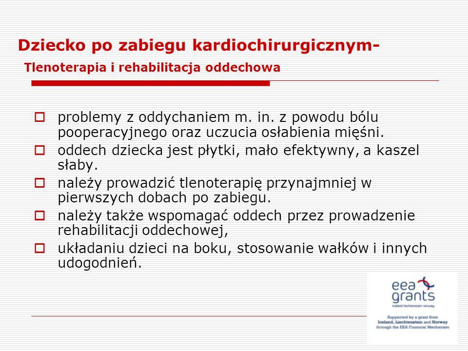 Dziecko po zabiegu kardiochirurgicznym- Tlenoterapia i rehabilitacja oddechowa problemy z oddychaniem m. in. z powodu bólu pooperacyjnego oraz uczucia