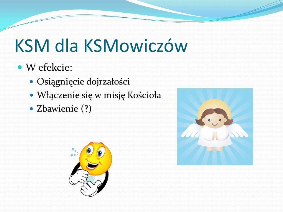 KSM dla KSMowiczów W efekcie: Osiągnięcie dojrzałości Włączenie się w misję Kościoła Zbawienie (?)