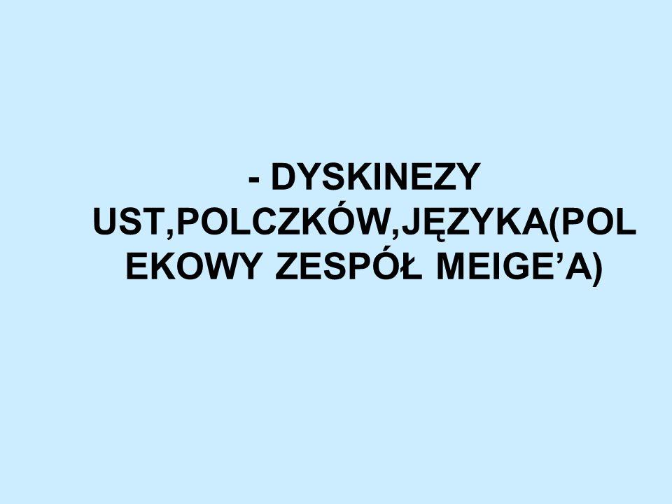 - DYSKINEZY UST,POLCZKÓW,JĘZYKA(POL EKOWY ZESPÓŁ MEIGEA)