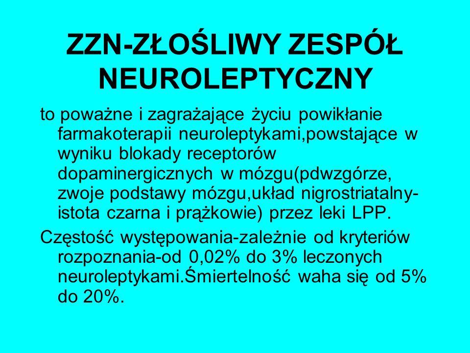 ZZN-ZŁOŚLIWY ZESPÓŁ NEUROLEPTYCZNY to poważne i zagrażające życiu powikłanie farmakoterapii neuroleptykami,powstające w wyniku blokady receptorów dopa