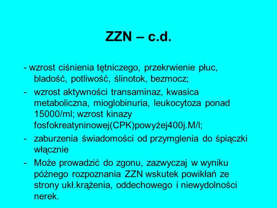 ZZN – c.d. - wzrost ciśnienia tętniczego, przekrwienie płuc, bladość, potliwość, ślinotok, bezmocz; -wzrost aktywności transaminaz, kwasica metabolicz