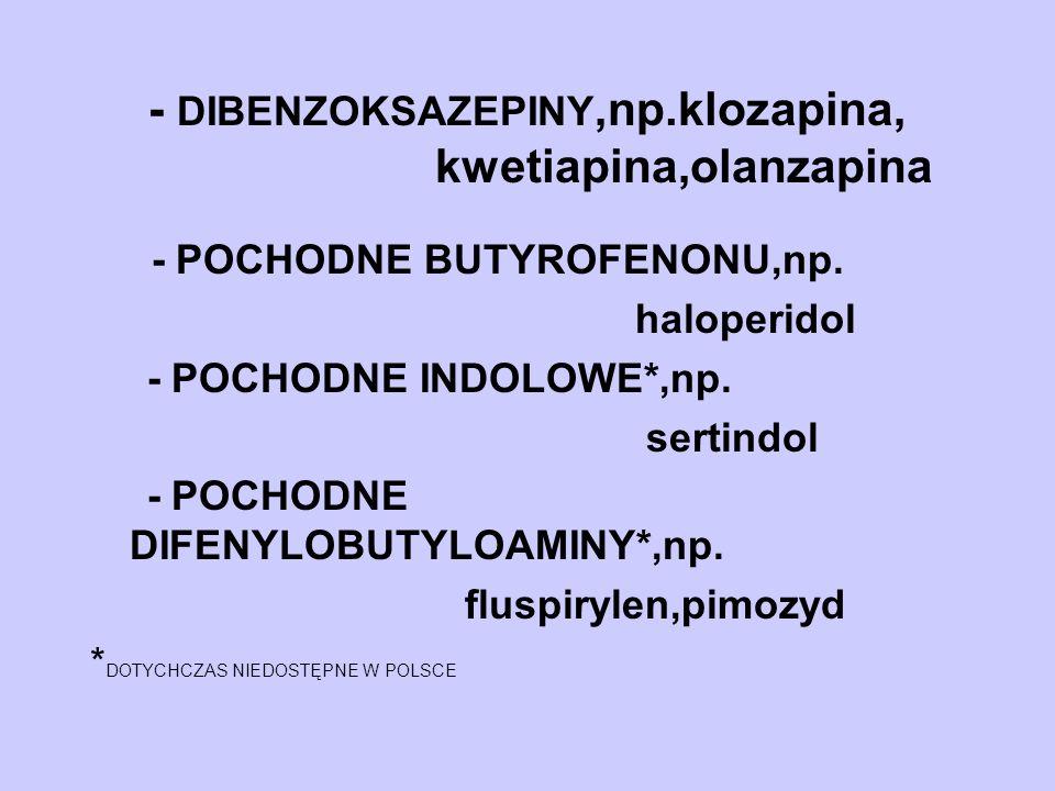 - DIBENZOKSAZEPINY,np.klozapina, kwetiapina,olanzapina - POCHODNE BUTYROFENONU,np. haloperidol - POCHODNE INDOLOWE*,np. sertindol - POCHODNE DIFENYLOB
