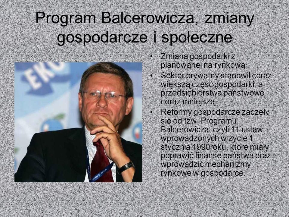 Program Balcerowicza, zmiany gospodarcze i społeczne Zmiana gospodarki z planowanej na rynkową Sektor prywatny stanowił coraz większą część gospodarki
