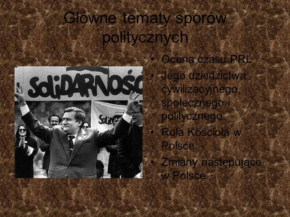 Główne tematy sporów politycznych Ocena czasu PRL Jego dziedzictwa cywilizacyjnego, społecznego i politycznego. Rola Kościoła w Polsce Zmiany następuj