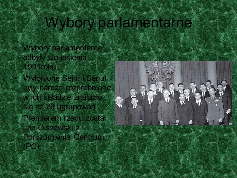 Wybory parlamentarne Wybory parlamentarne odbyły się jesienią 1991roku. Wyłonione Sejm i Senat były bardzo rozdrobnione, w ich składzie znalazło się a