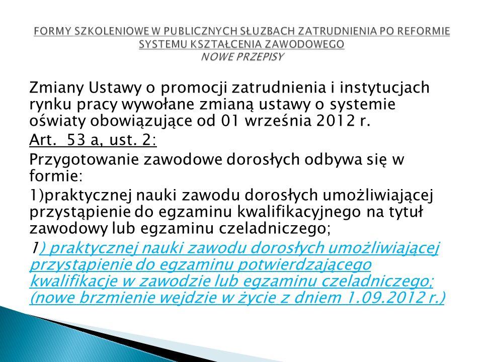 Zmiany Ustawy o promocji zatrudnienia i instytucjach rynku pracy wywołane zmianą ustawy o systemie oświaty obowiązujące od 01 września 2012 r. Art. 53