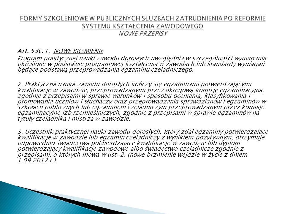 Art. 53c. 1. NOWE BRZMIENIE Program praktycznej nauki zawodu dorosłych uwzględnia w szczególności wymagania określone w podstawie programowej kształce