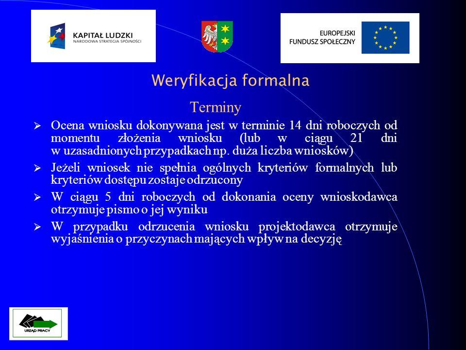 Kryteria dostępu wg Planu Działania na rok 2009 (dz.