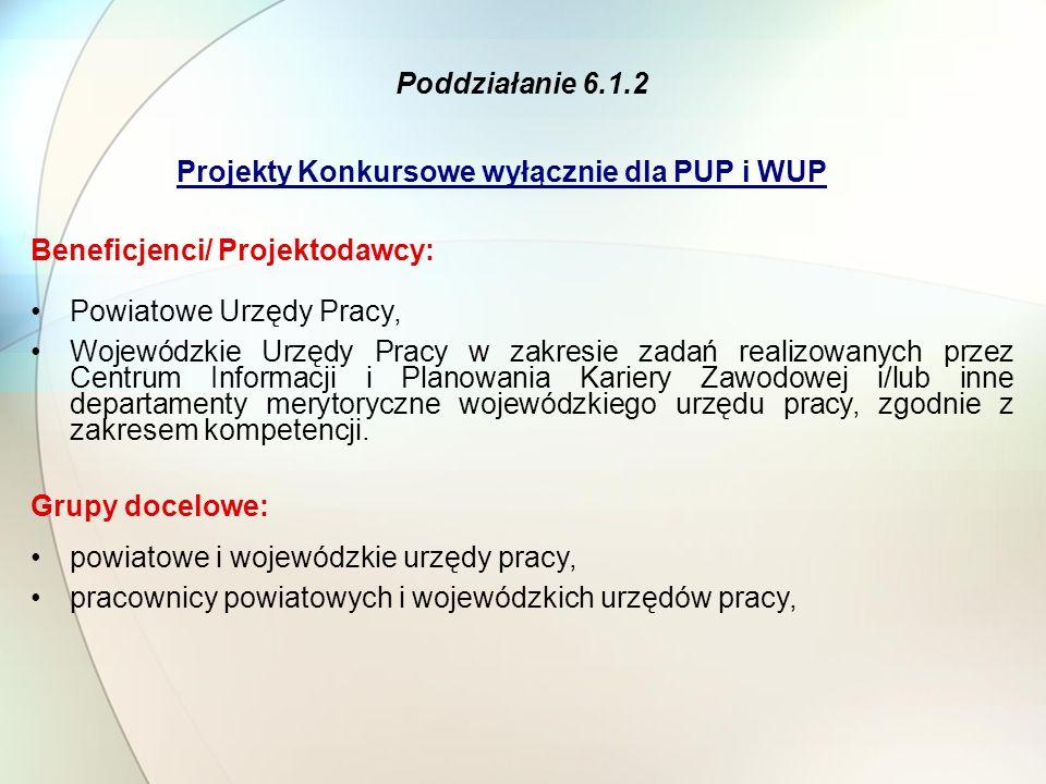Projekty Konkursowe wyłącznie dla PUP i WUP Poddziałanie 6.1.2 Beneficjenci/ Projektodawcy: Powiatowe Urzędy Pracy, Wojewódzkie Urzędy Pracy w zakresi