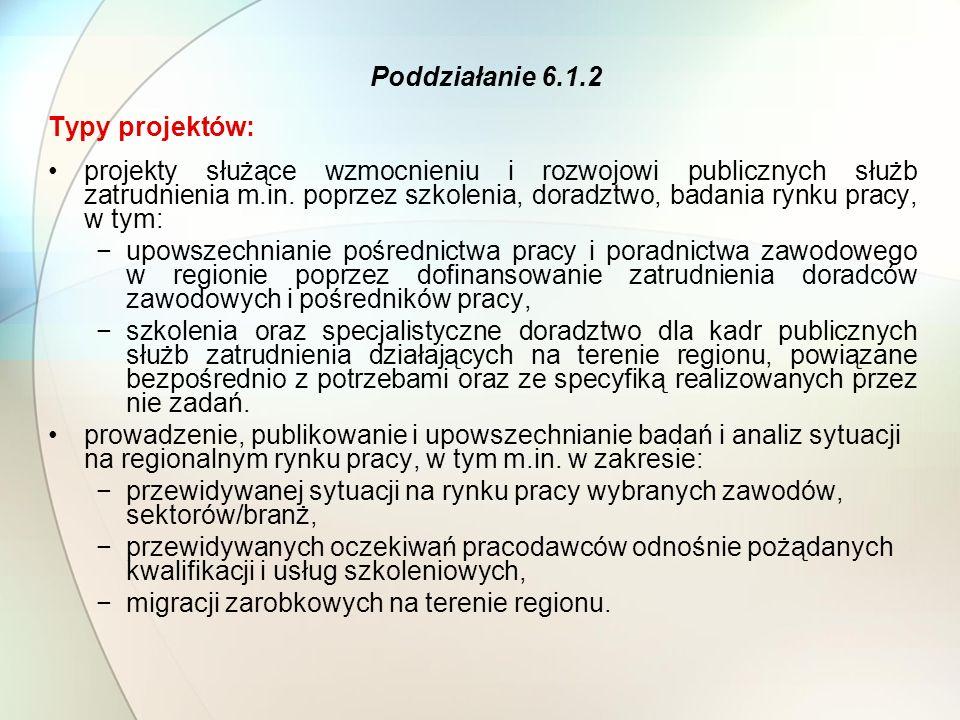 Typy projektów: projekty służące wzmocnieniu i rozwojowi publicznych służb zatrudnienia m.in.
