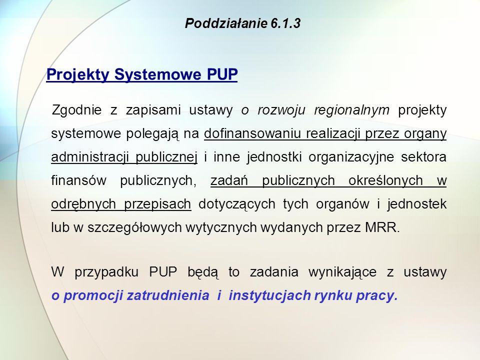 Projekty Systemowe PUP Zgodnie z zapisami ustawy o rozwoju regionalnym projekty systemowe polegają na dofinansowaniu realizacji przez organy administr