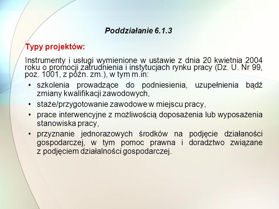 Poddziałanie 6.1.3 Typy projektów: Instrumenty i usługi wymienione w ustawie z dnia 20 kwietnia 2004 roku o promocji zatrudnienia i instytucjach rynku pracy (Dz.
