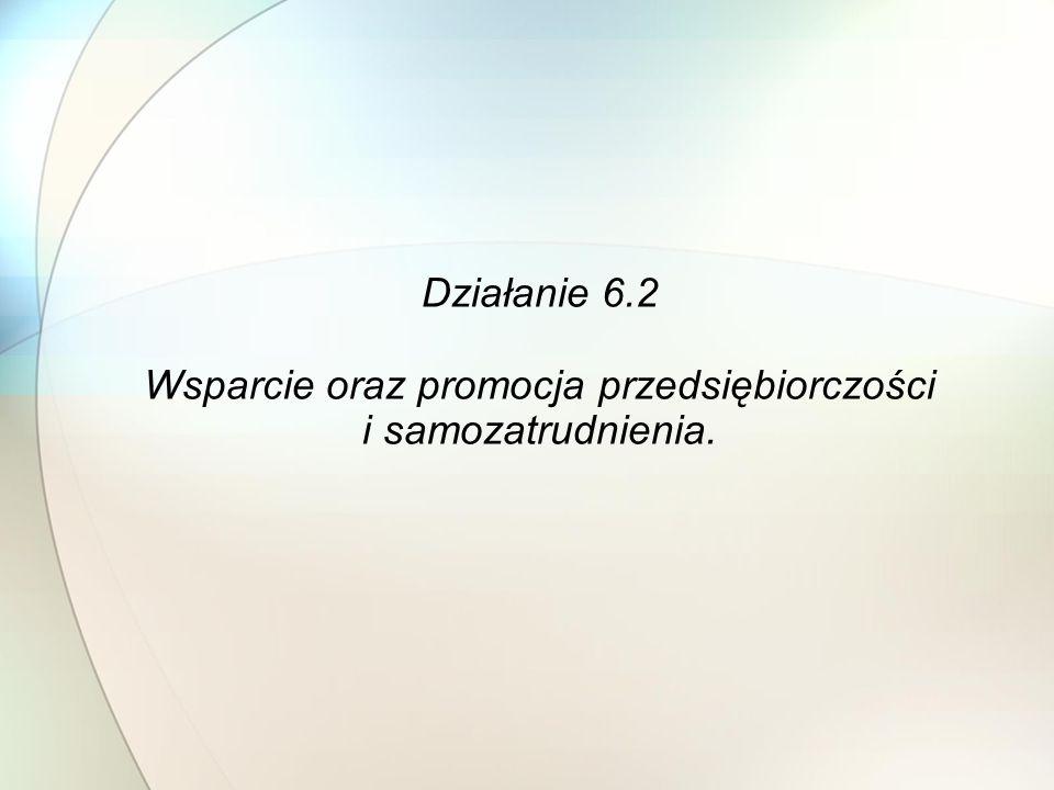 Działanie 6.2 Wsparcie oraz promocja przedsiębiorczości i samozatrudnienia.